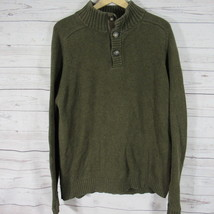 J Crew Sweater Mens XL Dark Green Knit Long Sleeves Mock Collar - $23.49