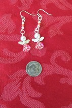 Handcrafted Pierced Earrings - Christmas - Pink Angels - $5.00