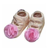 [C]Light Orange Color Flower Design Baby Girls Socks, 2 Pairs image 1