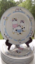 Vintage Tienshan Adorable Farm Family Cows Set of 7 Stoneware Dinner Plates - $18.23