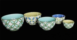 5 FOULARD 222 Fifth Stacking Mixing HVY Thick Bowls Blues Greens NEW HTF Hndpntd - $62.99