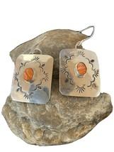 Navajo HandmadeStamped Sterling Silver Orange Spiny Oyster Earrings Set ... - $135.04