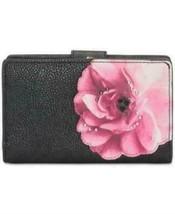 Calvin Klein Black Pink Floral Gold Leather Bifold Wallet $108 NWT image 2