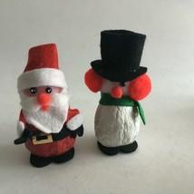 "Vintage Handmade Walnut Snowman/Santa Christmas Ornaments (2) 3.5"" New O... - $11.63"