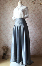 GRAY Taffeta Skirt Women High Waist Taffeta Skirt Maxi Party Prom Skirt Custom image 3