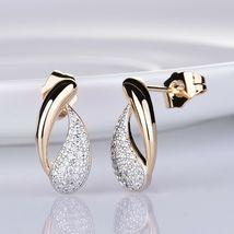 Women's Royal Jewelry Set Austrian Crystal Gold Stud Earrings + Pendant Necklace image 3