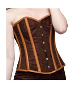 Brown Velvet Leather Goth Steampunk Halloween Costume Waist Trainer Over... - $69.99