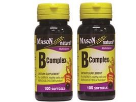 2 X 100 = 200 SOFTGELS VITAMIN B-COMPLEX skin eyes hair BRAIN ENERGY W V... - $12.85