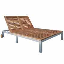 vidaXL Acacia Wood Double Chaise Sun Lounger Wheel Outdoor Patio Garden ... - $262.99