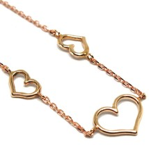 18K ROSE GOLD SQUARE ROLO MINI BRACELET, 7.5 INCHES, 3 HEARTS, MADE IN ITALY image 2