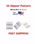 10-Nylon Zipper Pulls Choose Black, Blue or Khaki USA SELLER FAST SHIPPING - $8.99