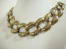 PALE GOLD Plate WIDE Curb Link Chain Necklace Choker Vintage Estate - $18.80