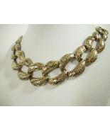 PALE GOLD Plate WIDE Curb Link Chain Necklace Choker Vintage Estate - $18.80