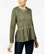 STYLE & CO 100% Cotton Olive Green Burnout Peplum Sweater NWOT Large - $7.03