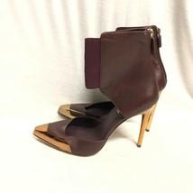 Bcbg Maxazria Shoes Wine Gold Leather Pumps Sandals Size: 39 - $56.09
