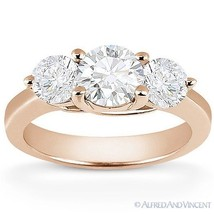 Round Cut Moissanite 14k Rose Gold Three-Stone Trellis Setting Engagemen... - £456.19 GBP+