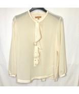 Ellen Tracy Sheer Top Womens Plus Size XL Button Front Ruffles - $29.69