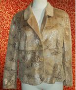 "ESSENTIALS BY MILANO beige animal print faux fur suede jacket BUST 46""(T... - $19.78"