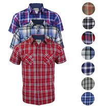Overdrive Men's Cotton Plaid Button Up Casual Short Sleeve Slim Fit Dress Shirt