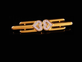 Vintage Sweetheart Brooch - art deco style - Signed Monet  Gold rhinesto... - $65.00