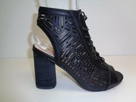 Sam Edelman Size 7.5 M ROCCO Black Nappa Peep Toe Heels Booties New Womens Shoes - $98.01