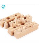 Wooden Toys Montessori Educational Cylinder Socket Blocks Baby Development - $28.59