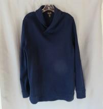 Tasso Elba men's sweater shirt  Large  navy blue shawl collar long sleeves - $12.69