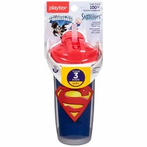 PLAYTEX - Sipsters Super Friends Spout Sippy Straw Cup 9 oz (266 ml) NEW... - $14.84