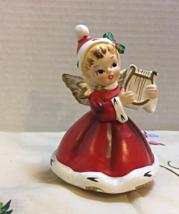 Vintage 1950's NAPCO Angel Playing Harp CHRISTMAS DECOR Music Box SILENT... - $25.00