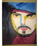 CAPTIAN JACK JOHNNY DEPP ORIGINAL POP ART ON 16X20 STRETCHED CANVAS.  VE... - $189.95