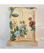Wood Jewelry/Storage Box Shelf Hand Painted Floral Distressed Cabinet Ho... - $27.72