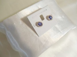 "Charter Club 1/2"" Gold Tone Purple Pave Stone Stud Earrings B716 - $12.47"