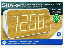 SHARP Wood Finish Dual Alarm Clock With Jumbo Time Display Electric BRAND NEW! - $22.99