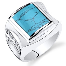 Men's Sterling Silver Simulated Turquoise Centurion Ring - $89.99