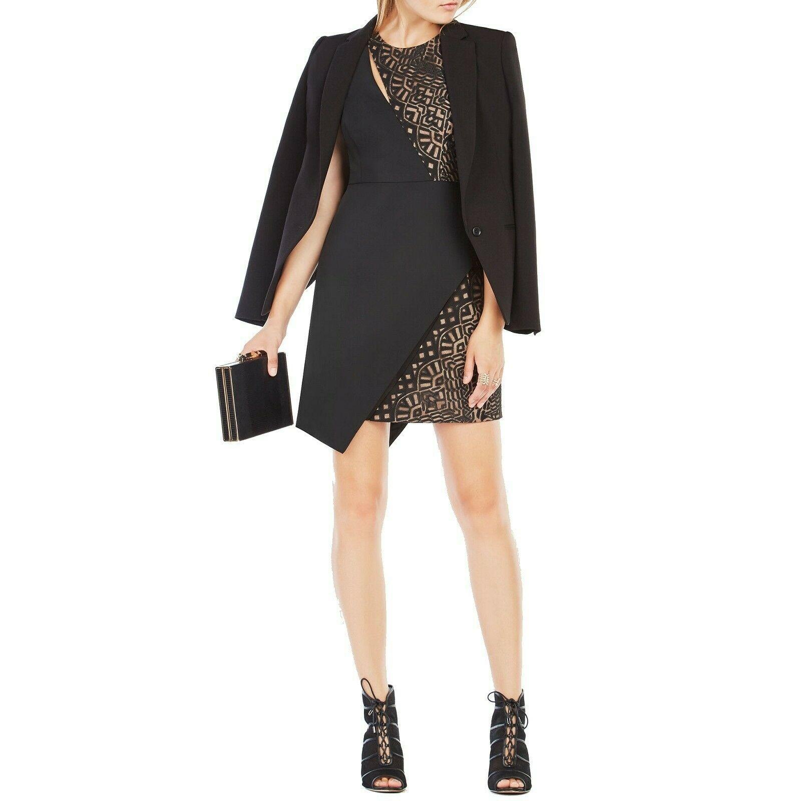 BCBG MAXAZRIA Black Kierra Satin Graphic Burnout Mesh Asymmetric Dress 0