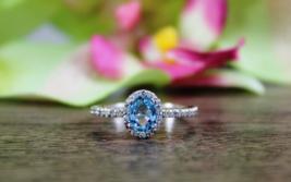 Solid 10k White Gold Blue,White Diamond Oval Cut Halo Design Anniversary Ring  - $289.99