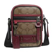 NWT COACH Terrain Crossbody Phone Bag Canvas Colorblock Tan Red Burgundy... - $126.00