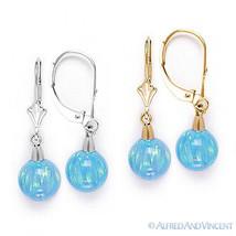 Azure Blue Fiery Opal Gem Dangling Drop Earrings in 14k 14kt Yellow / White Gold - $95.03