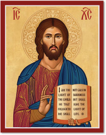 "Primary image for Cretan-Style Christ the Teacher Icon 3"" x 4"" print With Lumina Gold"