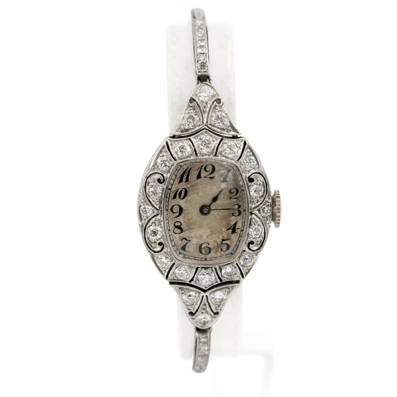 Edwardian Platinum & Diamond Watch made by H.E Rossel