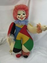 Vintage Felt Cloth Doll Clown w/ Tag Spain Patchwork 52307 Wool - $98.99