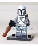 MANDALORIAN WARRIOR n Grey Star Wars Minifigure +Stand Mando Baby Yoda T... - $7.00