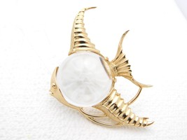 """Vintage 1960's Lucite Jelly Belly ANGEL FISH Brooch """"CATHE"""" Vermeil Ster... - $178.20"""
