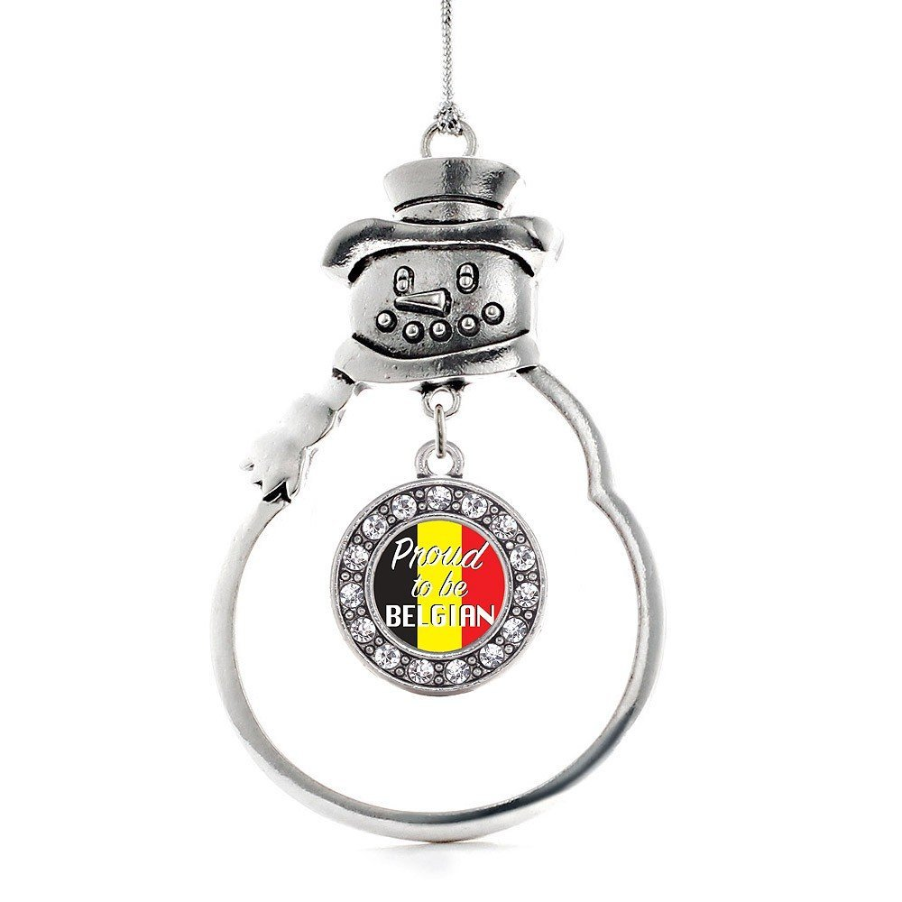 Primary image for Inspired Silver Proud to be Belgian Circle Snowman Holiday Christmas Tree Orname