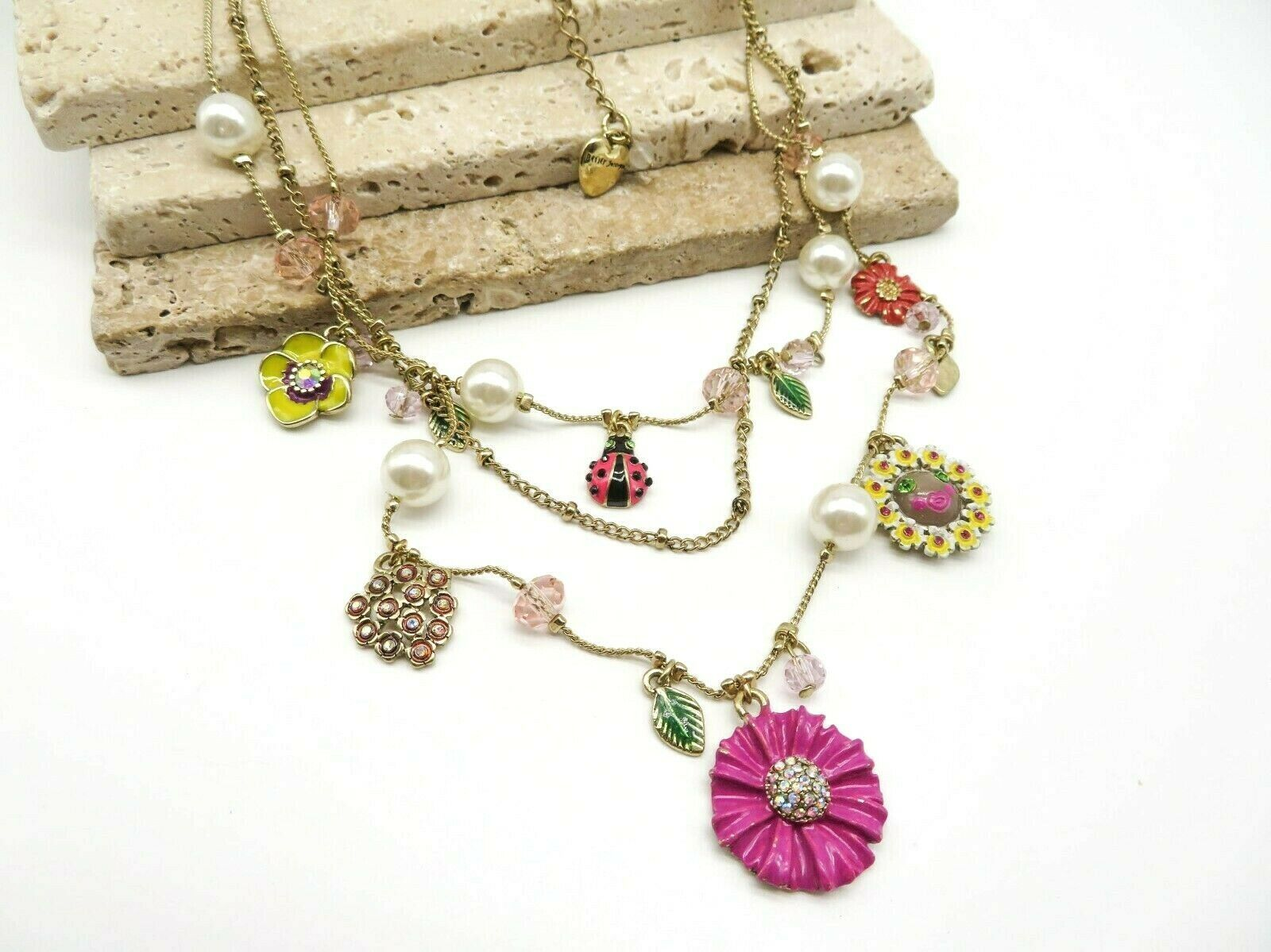 Betsey Johnson Layered Gold Floral Charm Necklace H34 - $36.99