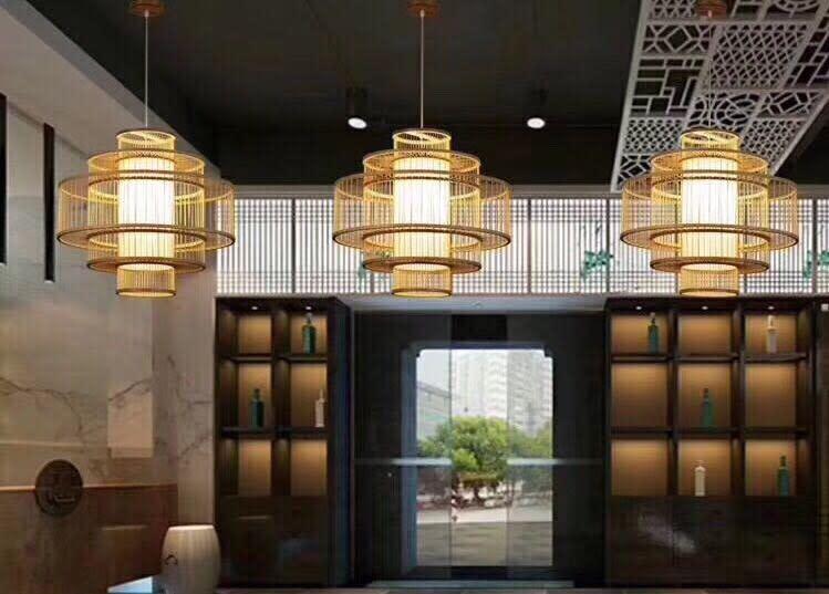 """Fine Asianliving Ceiling Light Pendant Lighting Hanging Light Bamboo - """"LEONA"""""""