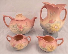 LOT OF HULL MAGNOLIA TEA SET & VASE PINK FLORAL... - $137.15
