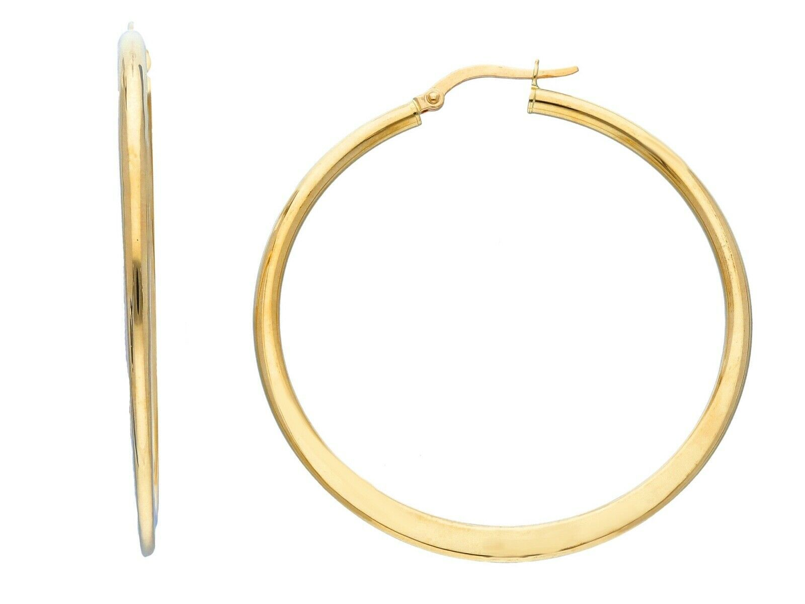 18K YELLOW GOLD ROUND CIRCLE EARRINGS DIAMETER 40 MM GLOSSY BRIGHT MADE IN ITALY