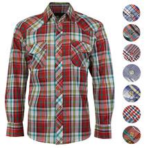 LW Men's Western Cowboy Pearl Snap Long Sleeve Cotton Rodeo Casual Dress Shirt