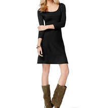 INC International Concepts Black A-Line Striped Ottoman Sweater Dress XL - $40.84